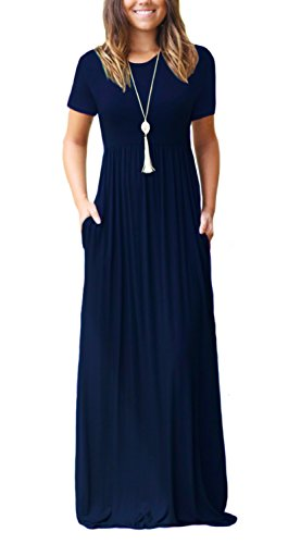 DEARCASE Women's Short Sleeve Casual Loose Long Maxi Dresses with Pockets Navy Blue -