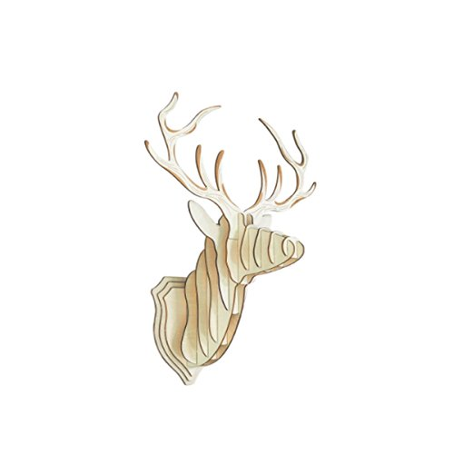 Glovion DIY 3D Cut Model Kit- Wooden Puzzle Kit for Educational &Wall Decor - Construct a Creative& Visual Model on Your Own Deer Head Wooden Wall Decor Kit