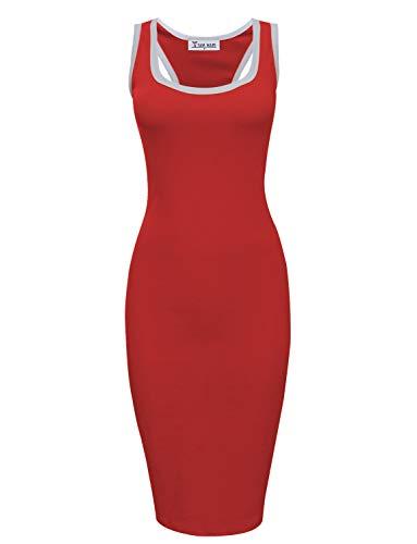 TAM WARE Women Casual Racerback Bodycon Tank Midi Dress TWCWD156-RED-US M ()
