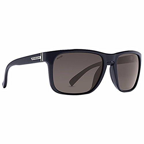 VonZipper Mens Lomax Sunglasses, Black Gloss w/Vintage Grey Wildlife Polarized Lens One (Polarized Clutch)