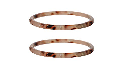 (Fenna&Fei Blush Bangles| Acetate Tortoise Shell Resin Bangle Bracelet Set| 2 Bangles XS/S (Blush, 6.5))