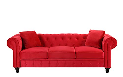 Divano Roma Furniture Classic Velvet Scroll Arm Tufted Button Chesterfield  Sofa (Red)