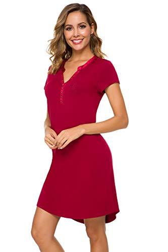 Alcea Rosea Women's Pajama Top Sleepshirt Loose fit Button Down Nightgown Sleepwear Summer Slip Night Dress S-XL (Wine, L) ...