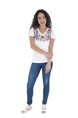 (Uipil Womens Mexican T-Shirt Tehuacan CT Large White 6864)