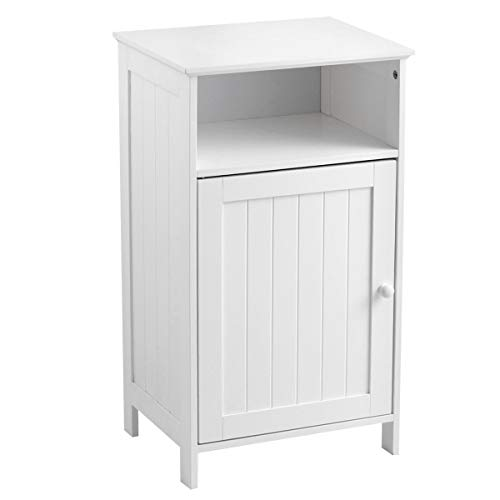 - White 1 Door Bathroom Floor Storage Cabinet Freestanding Shower Caddies Kitchen Cupboard Shoe Cabinet Side Table 1 Open Storage Shelf Home Living Room Bedroom Entryway Hallway Furniture