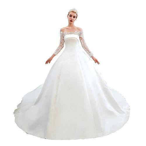 Datangep Women's Off Shoulder Satin Long Sleeve Church Wedding Dresses Court Train White - Sleeve Long Train Court