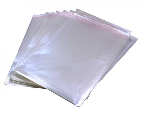 Penta Angel 200Pcs 1.4 Mil Clear Apparel Bags Plastic Adhesive Poly Bags Self Seal Packaging Bags for T-Shirt Clothes Jewelry Storage Party Weeding Gift Bags, 8.7x13.4 -