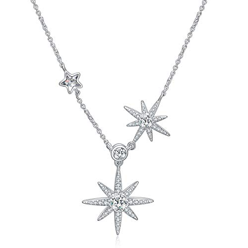 (GAEA H Sterling Silver Star Necklace for Women, Crystal with Swarovski Stars Jewelry Women's Necklaces)