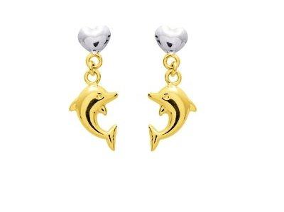 www.diamants-perles.com - Boucles d'oreilles enfant - Or bicolore - 18 carats - Dauphin