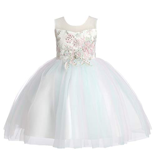Weileenice 6M-12Y Kids Costume Cosplay Dress Girl Rainbow Tulle Dress with 3D Embroidery Beading Baby Girls Princess Dress (5-6Years, Mint Green) -