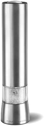 COLE & MASON Hampstead Electric Salt Grinder with LED Light - Electronic Battery Operated Mill, Stainless Steel