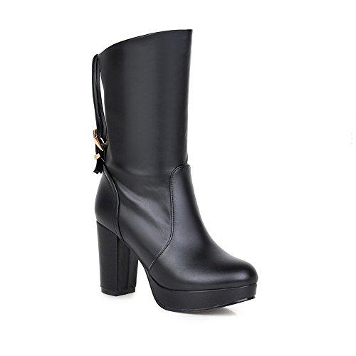 Allhqfashion Metal and Boots Black Materials PU Women's Blend Thread Heels High with qOSRq4w
