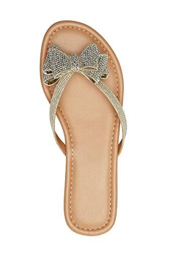 Ruanyu Womens Bow Tie Flip-Flops Thong Beach Summer Glitter Flat Sandals Silver]()