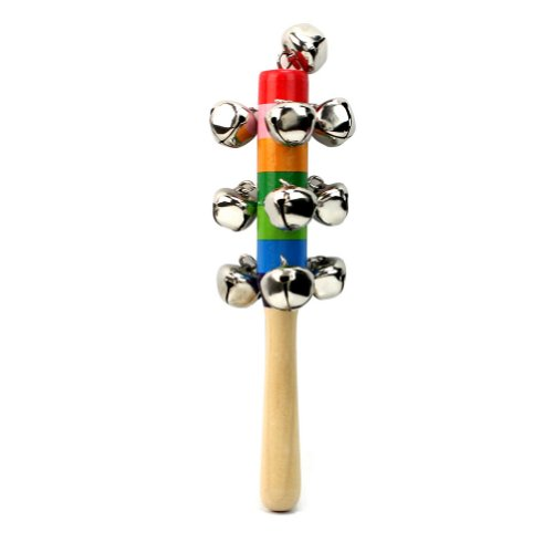 Baby Rassel Glocken Spielzeug Holzrassel Schellenstab Schellenrassel Glockenstab