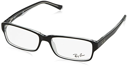 Ray Charles Glasses (Ray-Ban Men's 0rx5169 No Polarization Rectangular Prescription Eyewear Frame, Top Black on Transparent, 54)