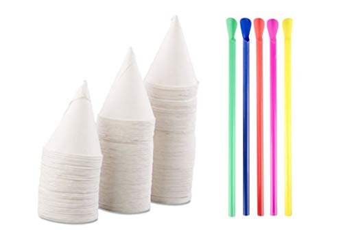200 Snow Cone Cups and 200 NEON Spoon Straws | 4.5oz Hawaiian Snow-Cone Cups and Neon Spoon Straw | These Snow Cone Machine and Shaved Ice Cups work perfectly with your favorite Sno Cone Syrup -