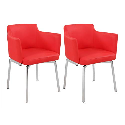 Milan Denise Club Style Swivel Arm Chair (Set of 2), Red ()