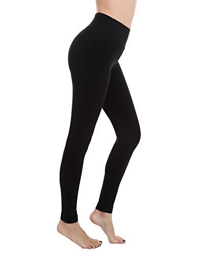 Finerease Soft & Stretchy High Waisted Leggings for Women,Tummy Control Winter Yoga Pants Leggings (Black, Medium/Large)