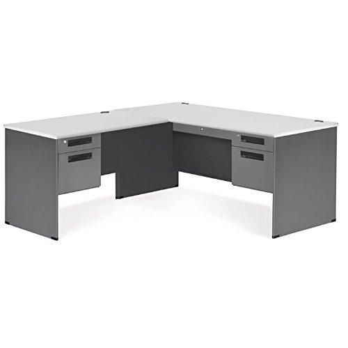 Return Desk Left Pedestal (OFM Executive Series L-Shaped Panel End Desk with Left Pedestal Return - Durable Corner Utility Desk (77366-L-GRYNB))