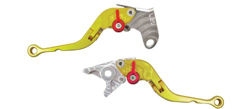 (Yana Shiki LS20LCF-GLD/RS17LBF-GLD Gold Short Folding Adjustable Brake/Clutch Lever Set with Silver Knuckles for Yamaha YZF-R6/YZF-R6S/YZF-R1)