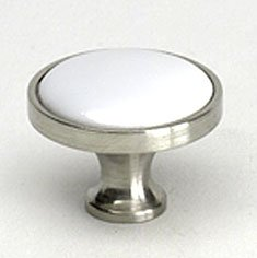Cabinet Knob, Manchester, Brushed Nickel and White ()