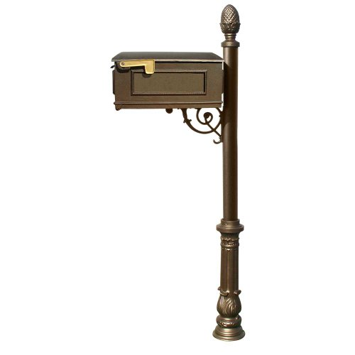 Qualarc Lewiston Cast Aluminum Post Mount Mailbox System with Post, Aluminum Mailbox, Ornate Base and Pineapple Finial, Bronze, Ships in 2 boxes