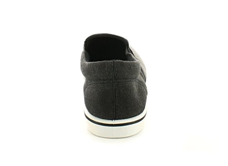 New Boys/Childrens Grey/Black Canvas Slip Ons Fashion Pumps. - Grey/Black - UK SIZE 1