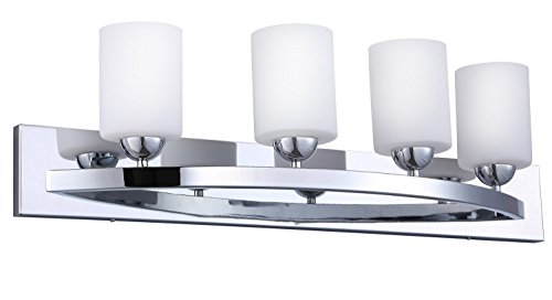 CloudyBay CB17002-CH Vanity Light Fixture,4-Bulb Wall Sconce Bathroom Lighting With Opal Glass Shade,UL Listed,Chrome Finish (Bathroom Light Bars)