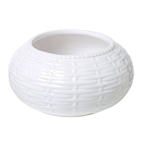 - 6 Inch Round White Woven Basket Pattern Ceramic Succulent Planter Pot