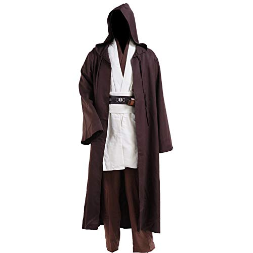 Halloween Tunic Costume Set Cosplay Outfit Brown with White (Large, White) -