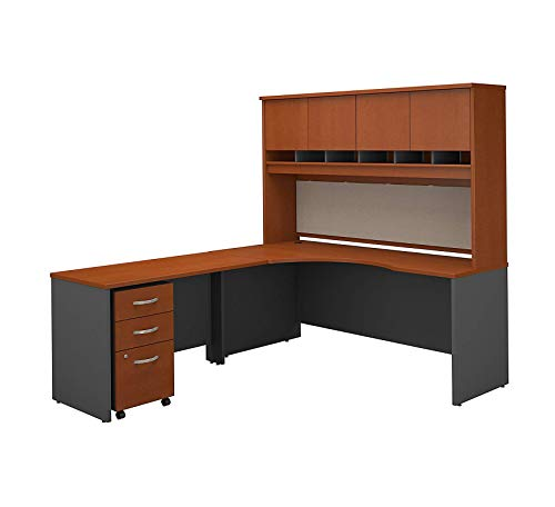 - Wood & Style Furniture 72W Right Handed Corner Desk with Hutch and Mobile File Cabinet in Auburn Maple Premium Office Home Durable Strong