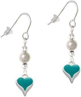 Small Enamel Heart Imitation Pearl French Earrings