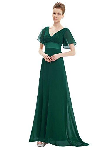 Engerla - Vestido - trapecio - Básico - Manga corta - para mujer Verde