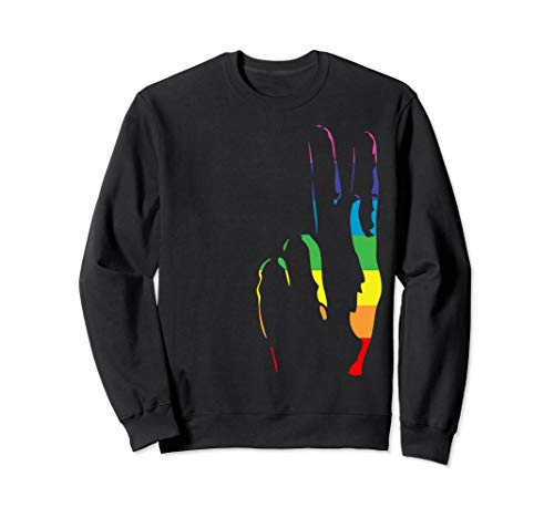 rainbow pride peace sign sweatshirt