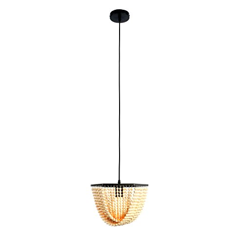 Unitary Brand Modern Black Metal and White Wood Beads Decoration Dining Room Pendant Lighting with 1 E26 Bulb Socket 60W Painted Finish (Wood Light Bead Pendant)