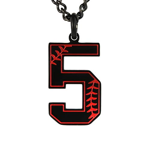 - HZMAN Baseball Initial Pendant Necklace Inspiration Baseball Jersey Number 0-9 Charms Stainless Steel Necklace (5 - Black)