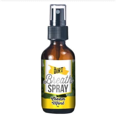 The Dirt Breath Spray, All Natural, Alcohol Free and Sugar Free, Glass Bottle, Essential Oils for Flavor, Clean Mint, 1oz