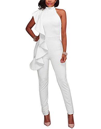 Engood Women's Sexy Ruffle Strapless High Waist Clubwear Long Wide Leg Pants Jumpsuit Rompers White XL