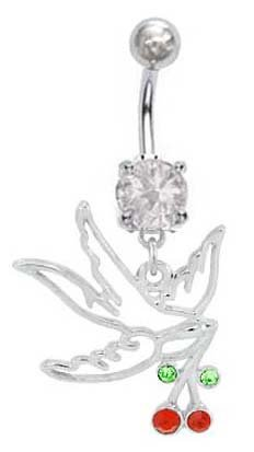 Crystalline Double Gem Clear HOLLOW DOVE Swallow Bird w/ Cherry's Dangle Belly button Navel Ring 14 gauge