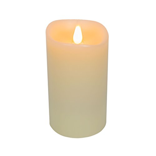 Unscented Round Pillars - FLAMELESS CANDLES Moving Flame LED Candle with Timer - Realistic 3D Flickering Light for Modern Home Decor, Battery Operated, Electric Votive Candle with Real Wax Pillar, Unscented, Ivory White, 3x5""