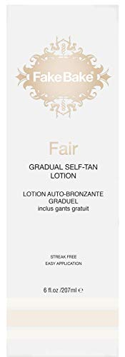 Fake Bake Fair Gradual Self-Tanning Lotion|Long-Lasting, Sunless Natural Glow For Fair Complexions | Includes Gloves For Easy Application | 6 oz -
