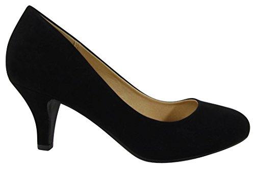 Cambridge Select Donna A Punta Tonda Imbottita Comfort Slip-on Pompa Tacco Medio Nero Nbpu
