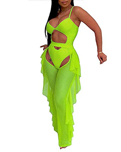 - Katblink Two Piece Outfits for Women - Sexy Mesh See Through Swimsuit Bikini Bottom Cover Up Ruffle Pants Set Beachwear Green S