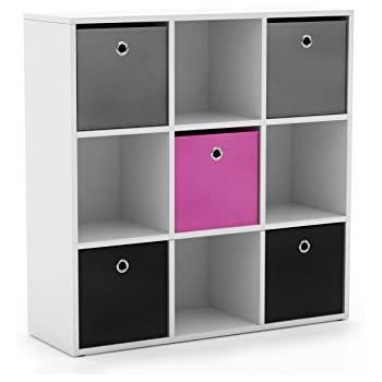 Target Marketing Systems Utility Collection Contemporary Bin Bookcase With  Five Storage Bins And Four Cubbies,