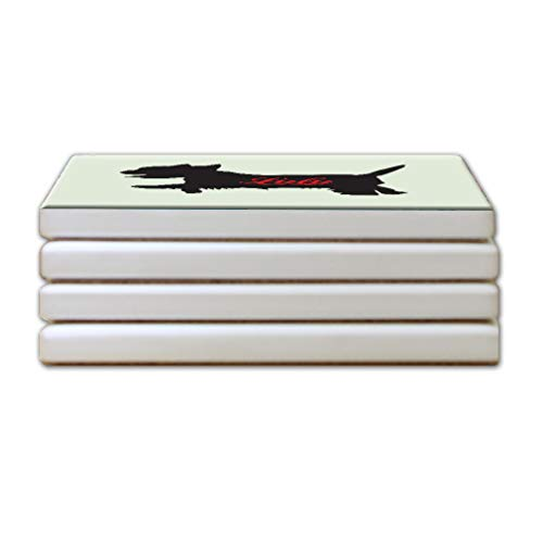 (Running Dog Silhouette Sandstone Coasters Square Set of 4)