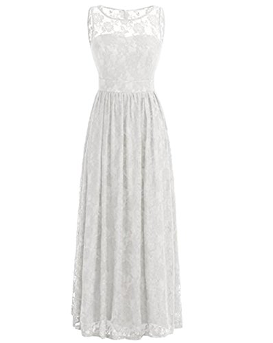 Floral Long Party Dress BOwith Gown Lace Bridesmaid 1920'S Women's Ivory Retro 7xHgfF