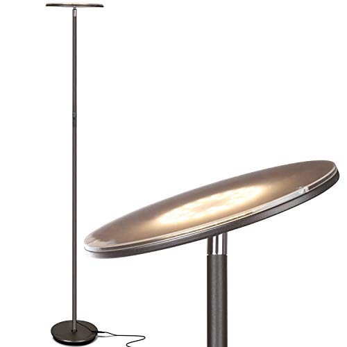 Brightech Sky Flux - The Very Brightest LED Torchiere Floor Lamp, for Your Living Room & Office - Halogen Lamp Alternative with 3 Light Options Incl. Daylight - Dimmable Modern Uplight - Bronze