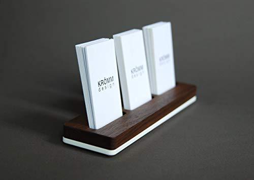 Multiple Business Card Holder for Desk, Wood Business Card Stand, Wood Multiple Business Card Display for 3 Vertical/Portrait Cards