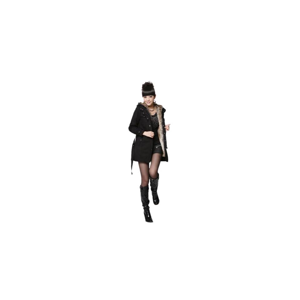 Sefon Winter Warm Jackets Wrap Trench Coat Womens (10, Black)
