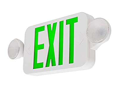 LFI Lights - UL Certified - Hardwired Green Compact Combo Exit Sign Emergency Light - COMBOGJR